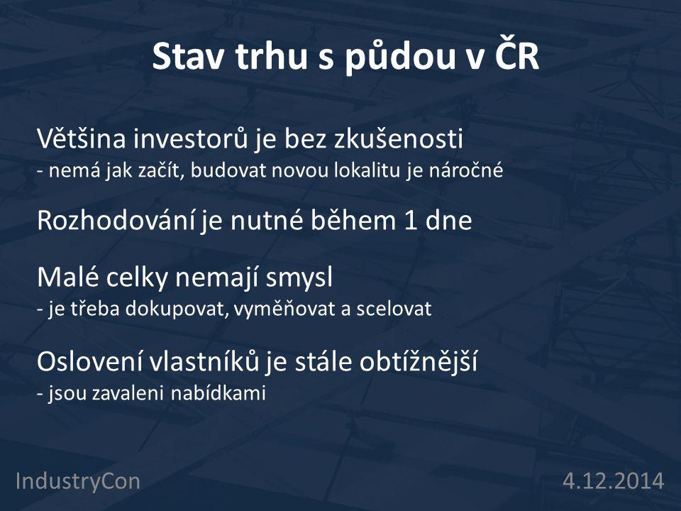 Stav trhu s půdou v ČR IndustryCon 4.12.2014 Většina investorů je bez zkušenosti - nemá jak začít, budovat novou lokalitu je náročné Rozhodování je nutné během 1 dne Malé celky nemají smysl - je třeba dokupovat, vyměňovat a scelovat Oslovení vlastníků je stále obtížnější - jsou zavaleni nabídkami