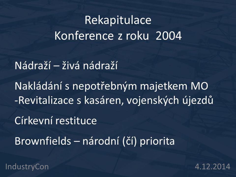 IndustryCon 4.12.2014 Rekapitulace Konference z roku 2004 Nádraží – živá nádraží Nakládání s nepotřebným majetkem MO -Revitalizace s kasáren, vojenský