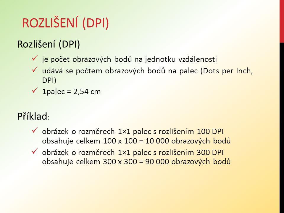 Rozlišení (DPI) je počet obrazových bodů na jednotku vzdálenosti udává se počtem obrazových bodů na palec (Dots per Inch, DPI) 1palec = 2,54 cm Příkla