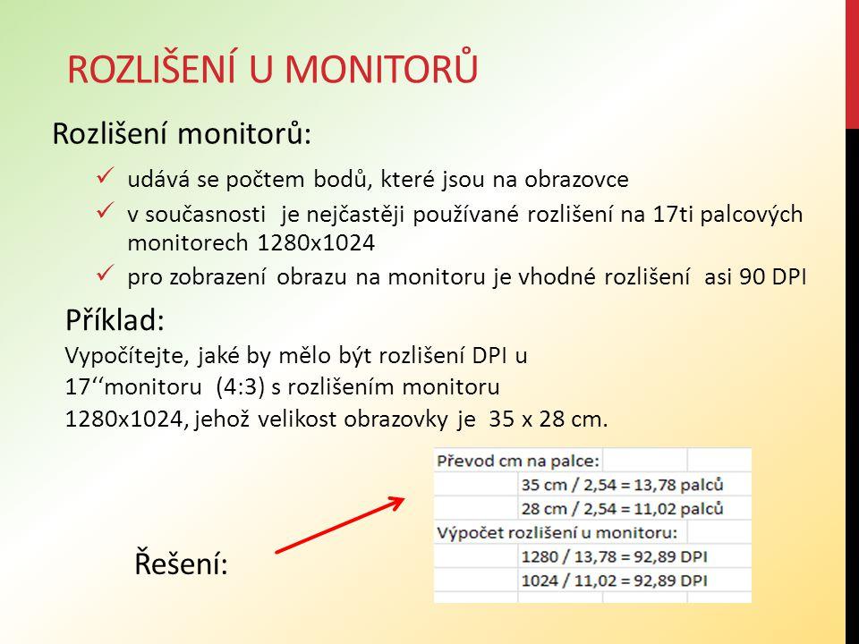 Rozlišení monitorů: udává se počtem bodů, které jsou na obrazovce v současnosti je nejčastěji používané rozlišení na 17ti palcových monitorech 1280x10