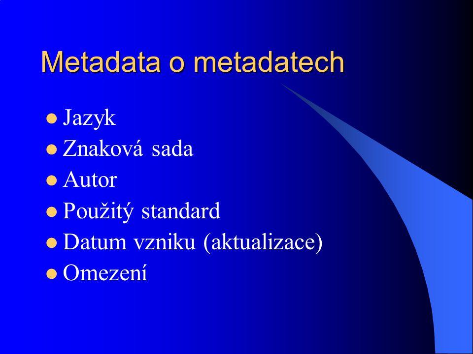 Metadata o metadatech Jazyk Znaková sada Autor Použitý standard Datum vzniku (aktualizace) Omezení