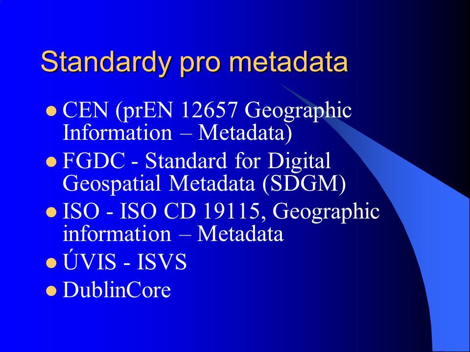 Standardy pro metadata CEN (prEN 12657 Geographic Information – Metadata) FGDC - Standard for Digital Geospatial Metadata (SDGM) ISO - ISO CD 19115, G