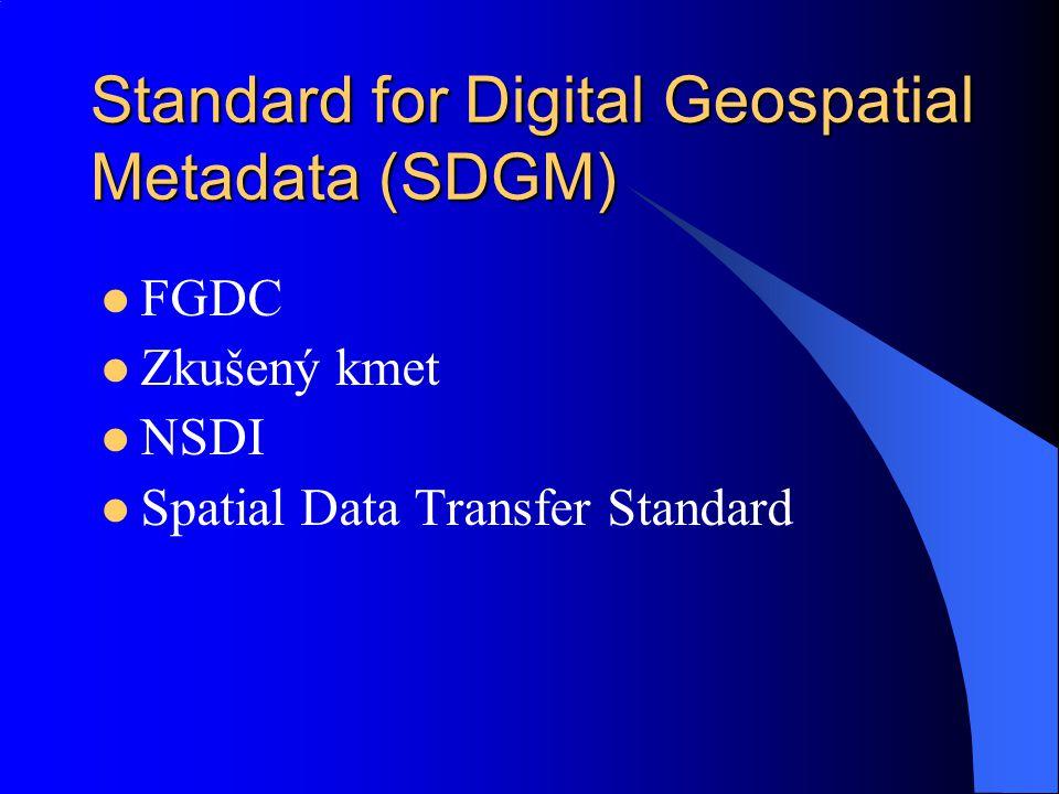 Standard for Digital Geospatial Metadata (SDGM) FGDC Zkušený kmet NSDI Spatial Data Transfer Standard