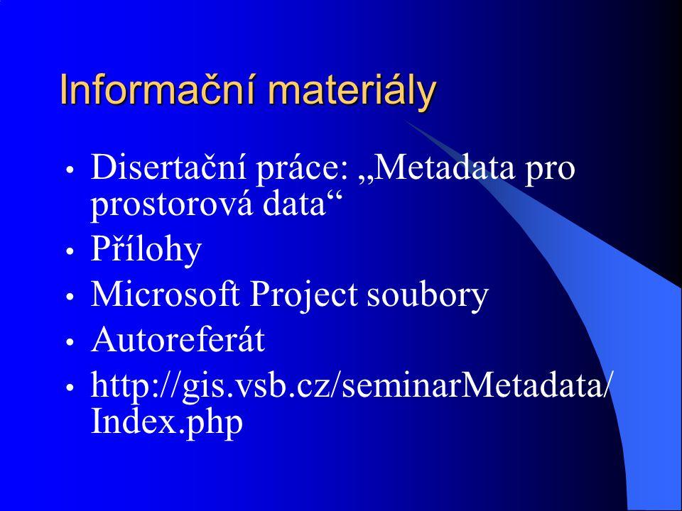 """Informační materiály Disertační práce: """"Metadata pro prostorová data"""" Přílohy Microsoft Project soubory Autoreferát http://gis.vsb.cz/seminarMetadata/"""
