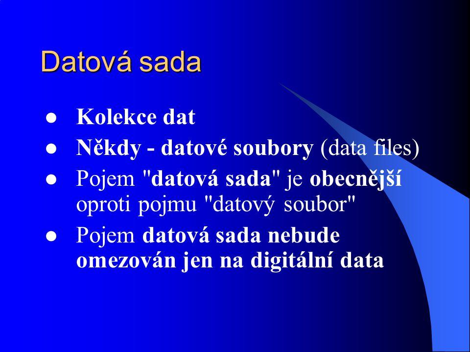Datová sada Kolekce dat Někdy - datové soubory (data files) Pojem