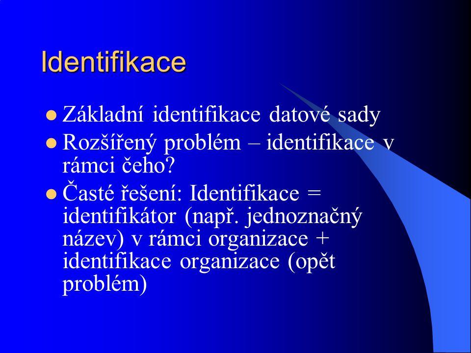 Identifikace Základní identifikace datové sady Rozšířený problém – identifikace v rámci čeho? Časté řešení: Identifikace = identifikátor (např. jednoz