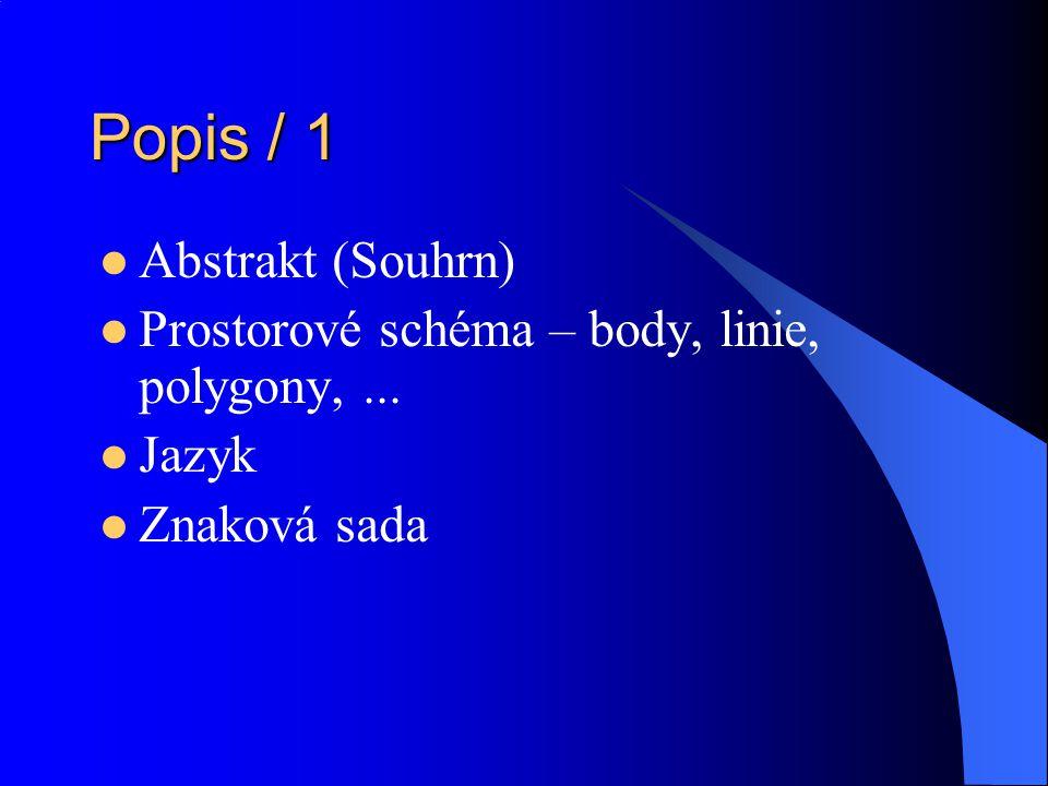 Popis / 1 Abstrakt (Souhrn) Prostorové schéma – body, linie, polygony,... Jazyk Znaková sada