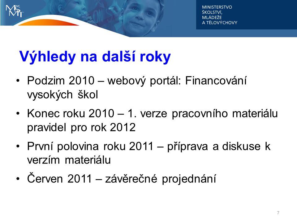 Další postup: 8 V souladu s připomínkami reprezentací budou upřesněny některé formulace Zásad Do konce příštího týdne budou rozeslána jednotlivým VVŠ předběžná data Podzim 2010 – webový portál: Financování vysokých škol