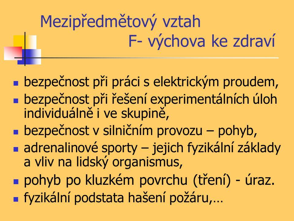 Mezipředmětový vztah F- výchova ke zdraví bezpečnost při práci s elektrickým proudem, bezpečnost při řešení experimentálních úloh individuálně i ve sk