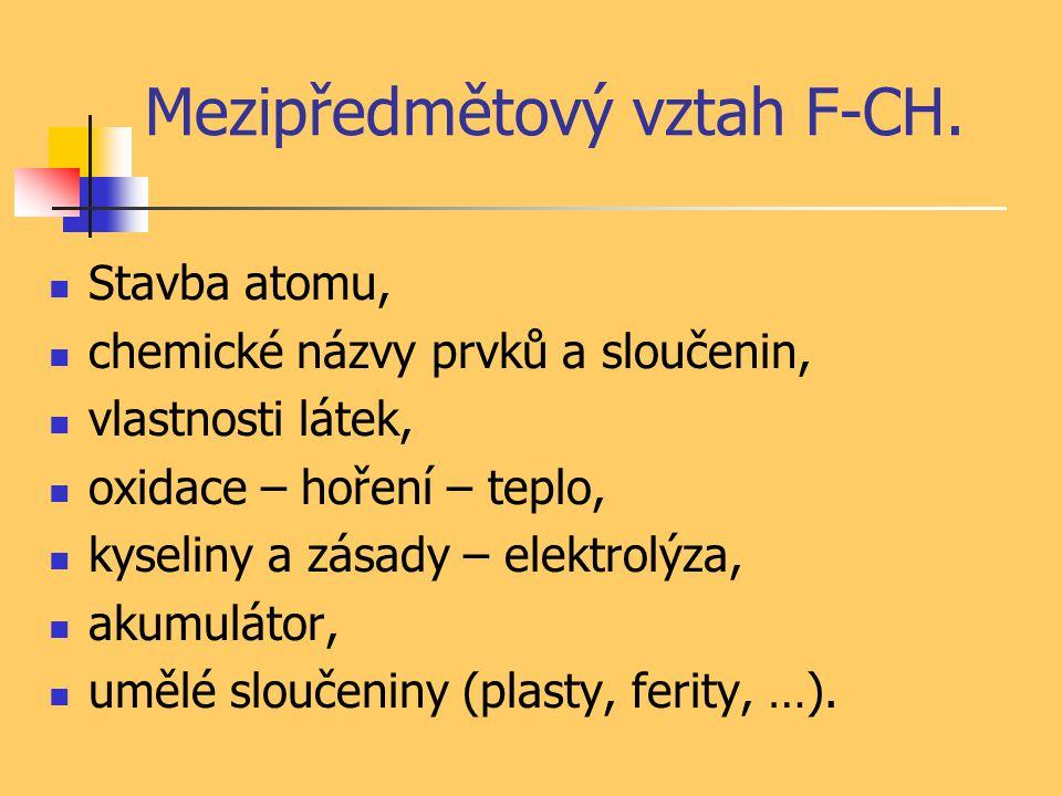Mezipředmětový vztah F-CH. Stavba atomu, chemické názvy prvků a sloučenin, vlastnosti látek, oxidace – hoření – teplo, kyseliny a zásady – elektrolýza