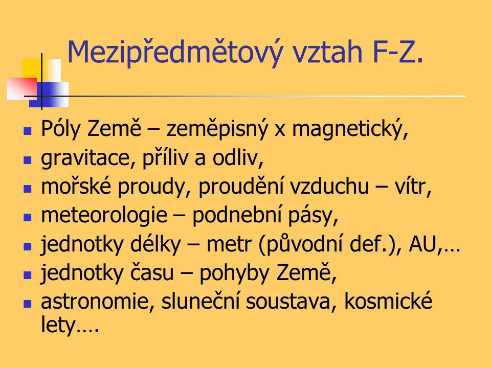Mezipředmětový vztah F-Z. Póly Země – zeměpisný x magnetický, gravitace, příliv a odliv, mořské proudy, proudění vzduchu – vítr, meteorologie – podneb