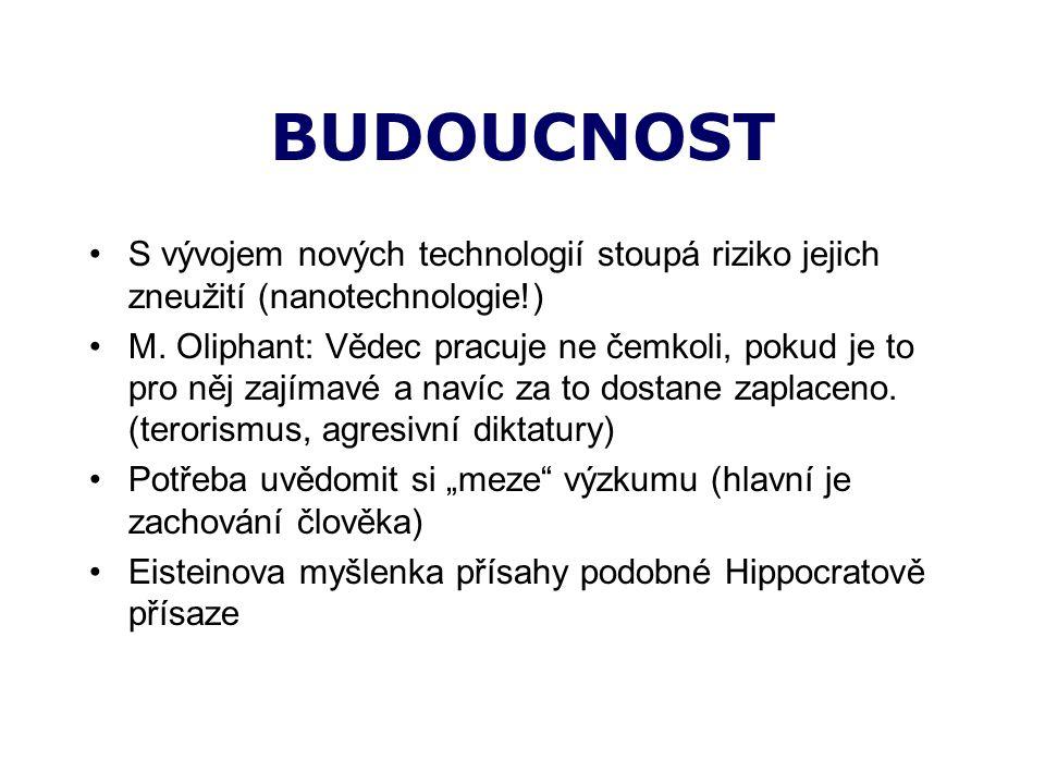 BUDOUCNOST S vývojem nových technologií stoupá riziko jejich zneužití (nanotechnologie!) M.