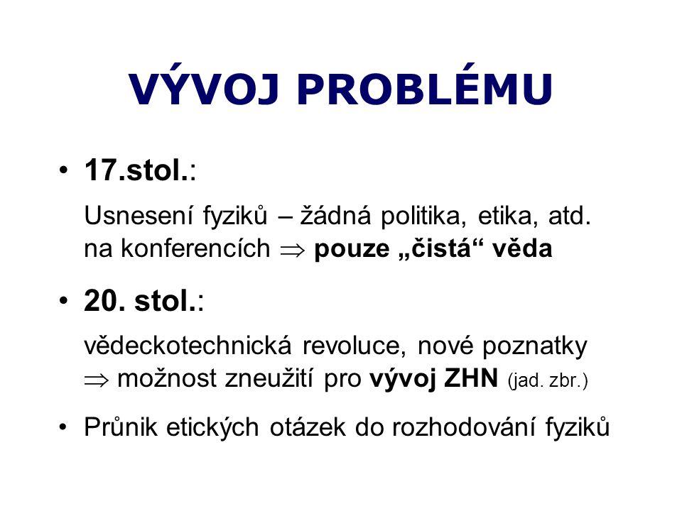 VÝVOJ PROBLÉMU 17.stol.: Usnesení fyziků – žádná politika, etika, atd.