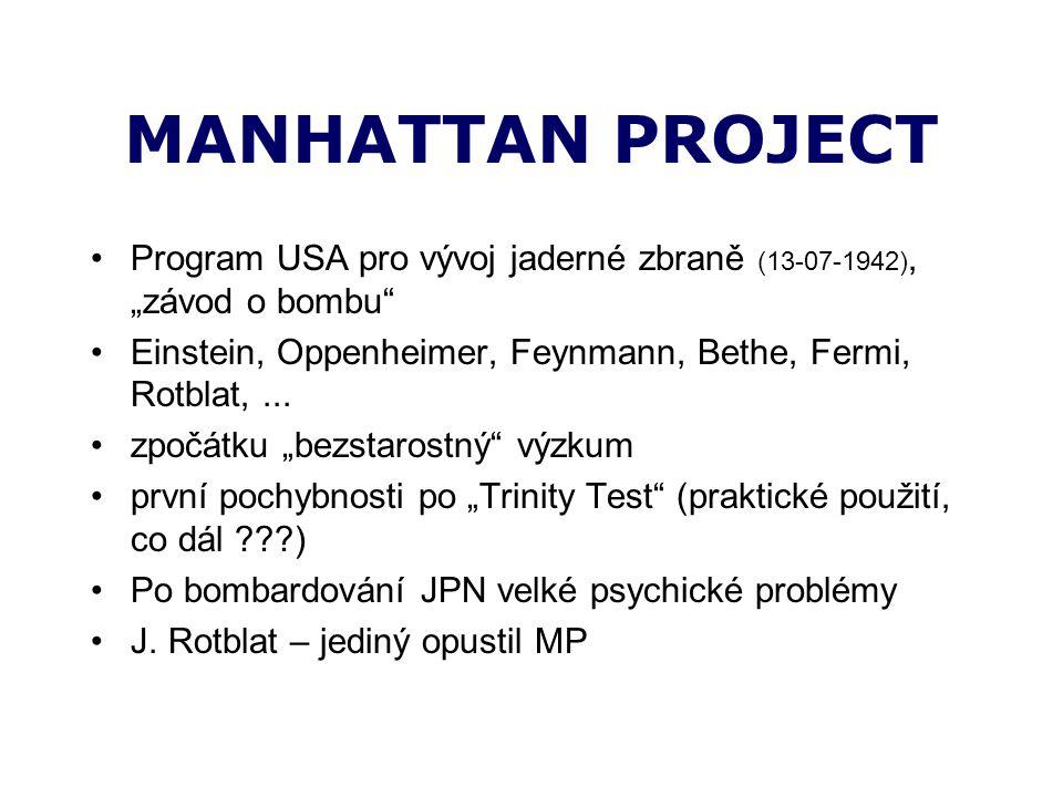 "MANHATTAN PROJECT Program USA pro vývoj jaderné zbraně (13-07-1942), ""závod o bombu Einstein, Oppenheimer, Feynmann, Bethe, Fermi, Rotblat,..."