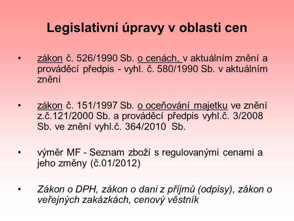 Legislativní úpravy v oblasti cen zákon č. 526/1990 Sb. o cenách, v aktuálním znění a prováděcí předpis - vyhl. č. 580/1990 Sb. v aktuálním znění záko