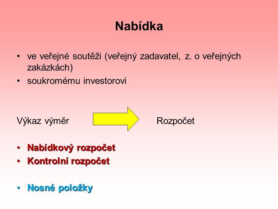 Nabídka ve veřejné soutěži (veřejný zadavatel, z. o veřejných zakázkách) soukromému investorovi Výkaz výměr Rozpočet Nabídkový rozpočetNabídkový rozpo