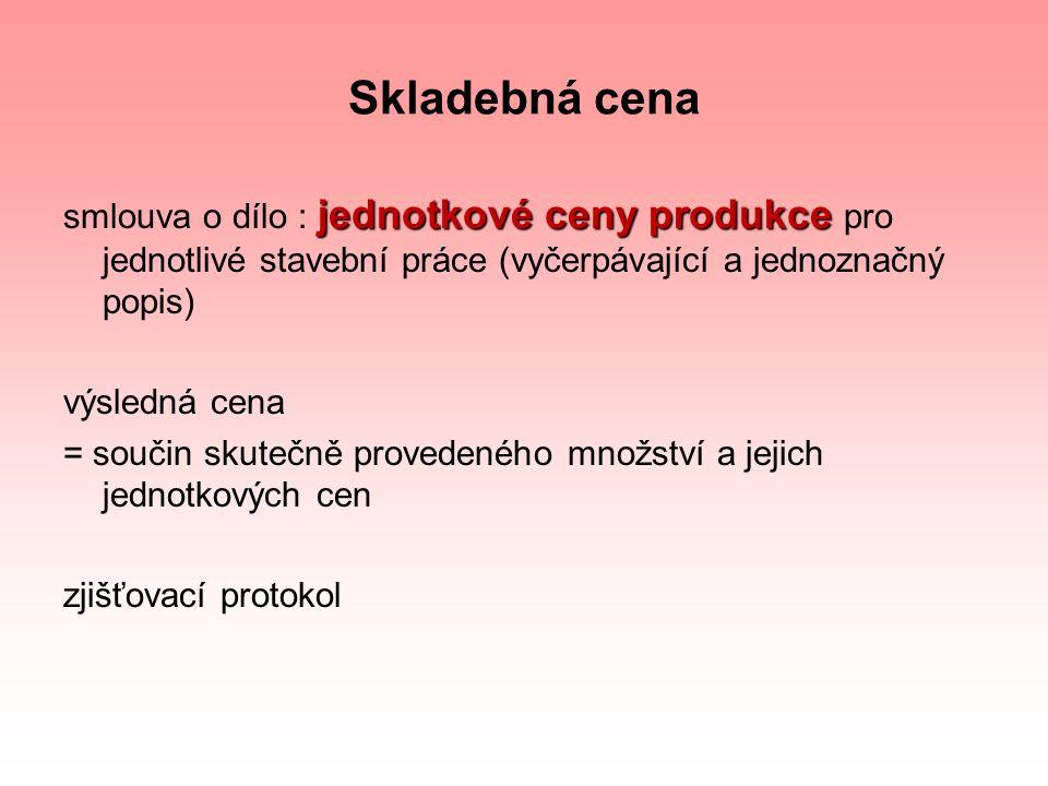 Skladebná cena jednotkové ceny produkce smlouva o dílo : jednotkové ceny produkce pro jednotlivé stavební práce (vyčerpávající a jednoznačný popis) vý