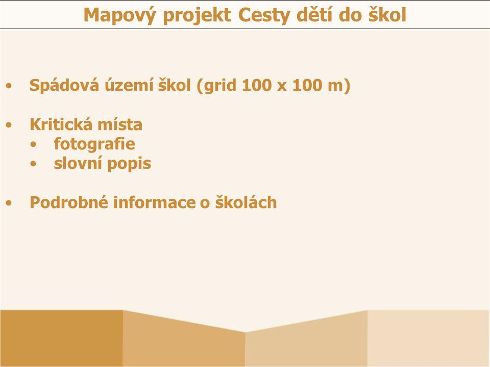 Spádová území škol (grid 100 x 100 m) Kritická místa fotografie slovní popis Podrobné informace o školách Mapový projekt Cesty dětí do škol