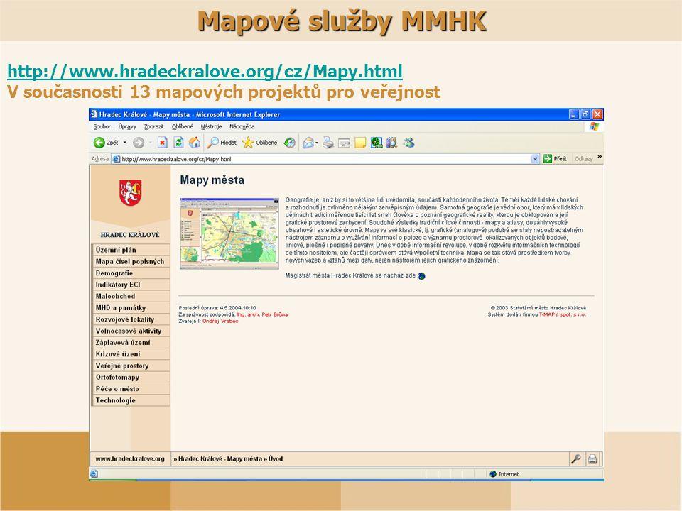 Mapové služby MMHK http://www.hradeckralove.org/cz/Mapy.html V současnosti 13 mapových projektů pro veřejnost