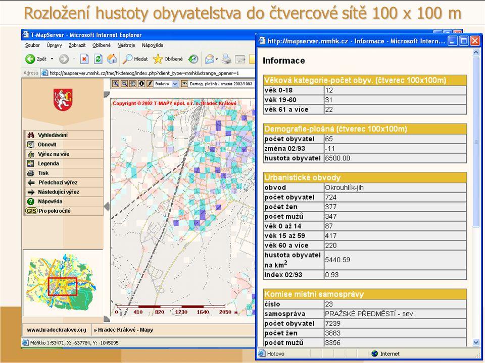 Rozložení hustoty obyvatelstva do čtvercové sítě 100 x 100 m