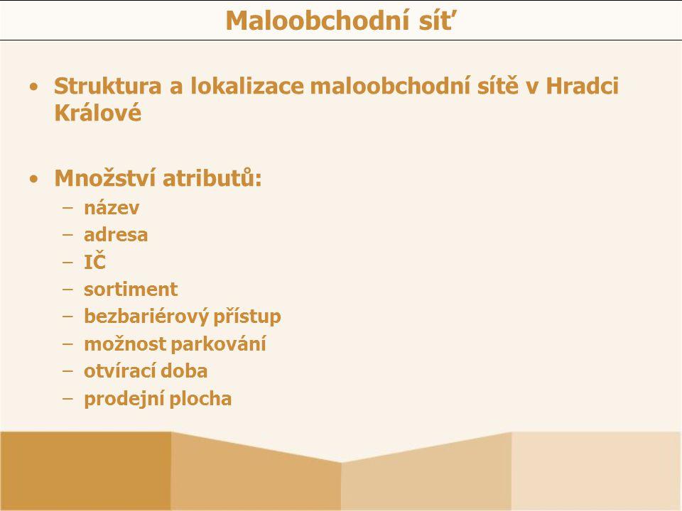 Maloobchodní síť Struktura a lokalizace maloobchodní sítě v Hradci Králové Množství atributů: –název –adresa –IČ –sortiment –bezbariérový přístup –mož