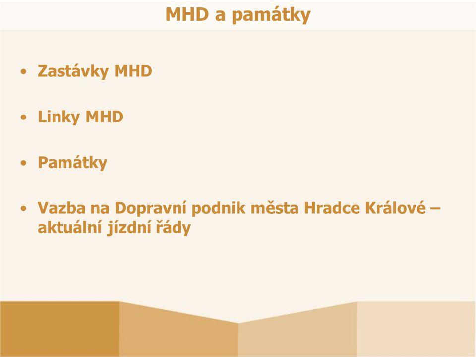 MHD a památky Zastávky MHD Linky MHD Památky Vazba na Dopravní podnik města Hradce Králové – aktuální jízdní řády