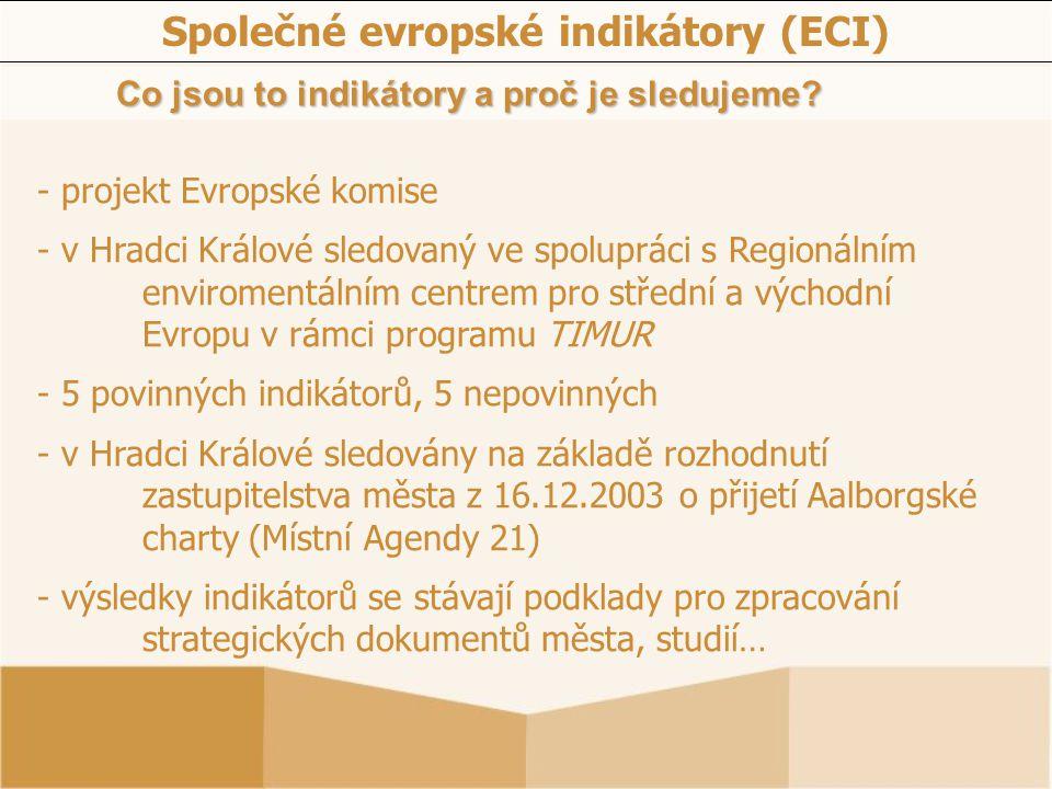 Společné evropské indikátory (ECI) Co jsou to indikátory a proč je sledujeme? - projekt Evropské komise - v Hradci Králové sledovaný ve spolupráci s R