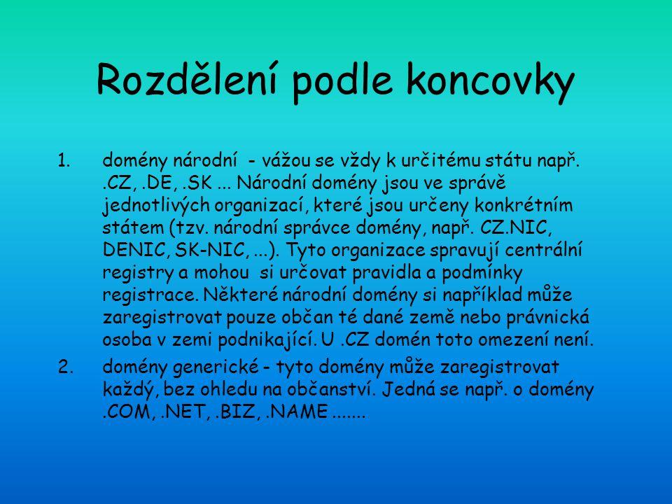 Rozdělení podle koncovky 1.domény národní - vážou se vždy k určitému státu např..CZ,.DE,.SK...