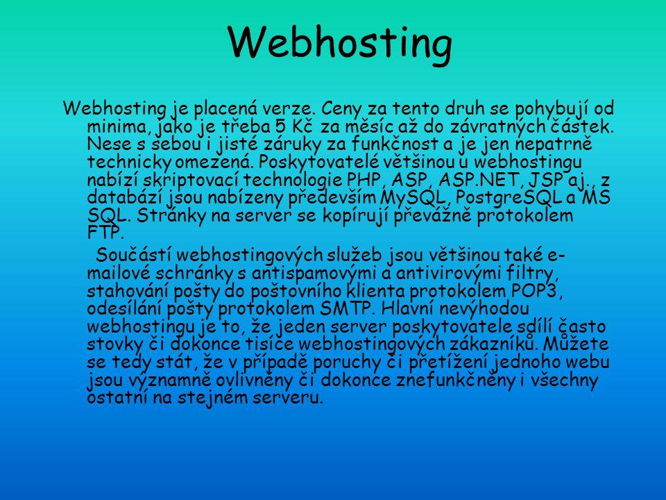 Webhosting Webhosting je placená verze. Ceny za tento druh se pohybují od minima, jako je třeba 5 Kč za měsíc až do závratných částek. Nese s sebou i