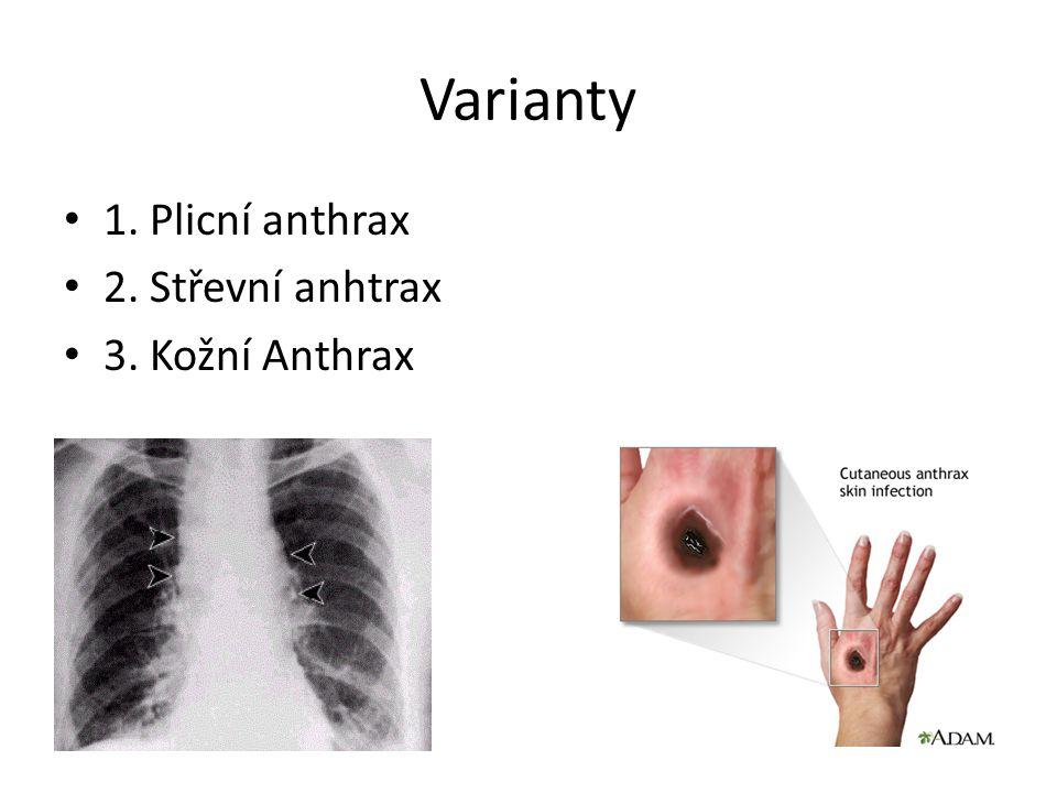 Varianty 1. Plicní anthrax 2. Střevní anhtrax 3. Kožní Anthrax