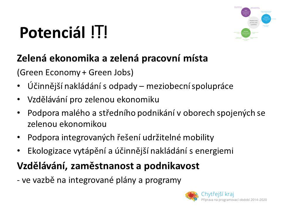 Potenciál Zelená ekonomika a zelená pracovní místa (Green Economy + Green Jobs) Účinnější nakládání s odpady – meziobecní spolupráce Vzdělávání pro zelenou ekonomiku Podpora malého a středního podnikání v oborech spojených se zelenou ekonomikou Podpora integrovaných řešení udržitelné mobility Ekologizace vytápění a účinnější nakládání s energiemi Vzdělávání, zaměstnanost a podnikavost - ve vazbě na integrované plány a programy