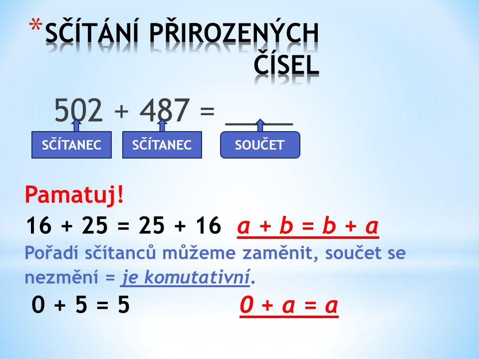 502 + 487 = ____ Pamatuj.