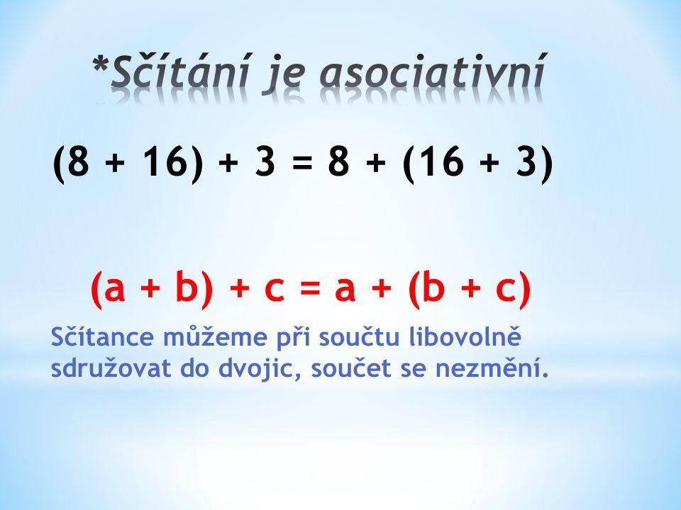 (8 + 16) + 3 = 8 + (16 + 3) (a + b) + c = a + (b + c) Sčítance můžeme při součtu libovolně sdružovat do dvojic, součet se nezmění.