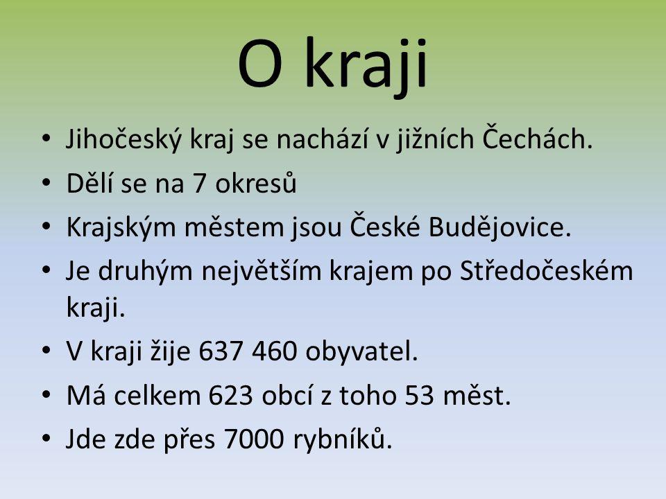 O kraji Jihočeský kraj se nachází v jižních Čechách. Dělí se na 7 okresů Krajským městem jsou České Budějovice. Je druhým největším krajem po Středoče