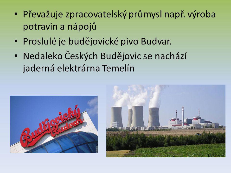Převažuje zpracovatelský průmysl např. výroba potravin a nápojů Proslulé je budějovické pivo Budvar. Nedaleko Českých Budějovic se nachází jaderná ele