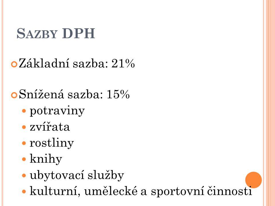 S AZBY DPH Základní sazba: 21% Snížená sazba: 15% potraviny zvířata rostliny knihy ubytovací služby kulturní, umělecké a sportovní činnosti