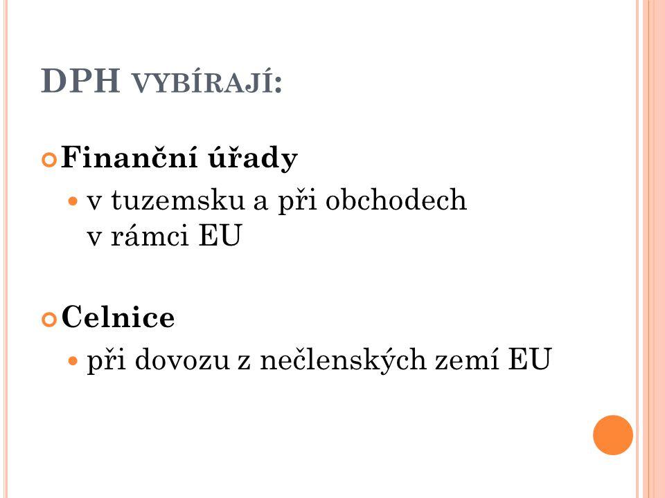 DPH VYBÍRAJÍ : Finanční úřady v tuzemsku a při obchodech v rámci EU Celnice při dovozu z nečlenských zemí EU