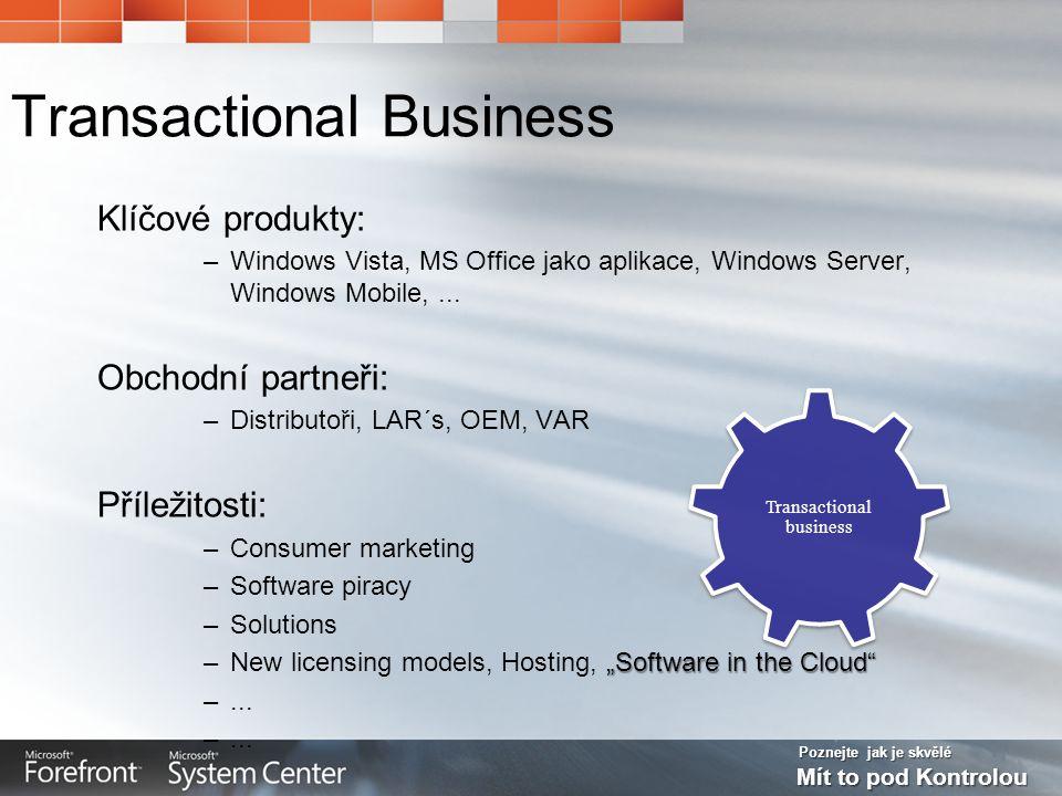 Poznejte jak je skvělé Mít to pod Kontrolou Transactional Business Klíčové produkty: –Windows Vista, MS Office jako aplikace, Windows Server, Windows Mobile,...