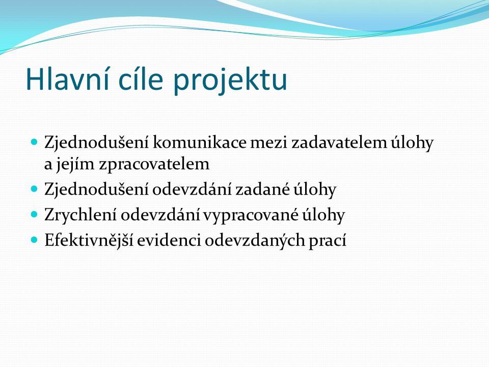 Hlavní cíle projektu Zjednodušení komunikace mezi zadavatelem úlohy a jejím zpracovatelem Zjednodušení odevzdání zadané úlohy Zrychlení odevzdání vypr