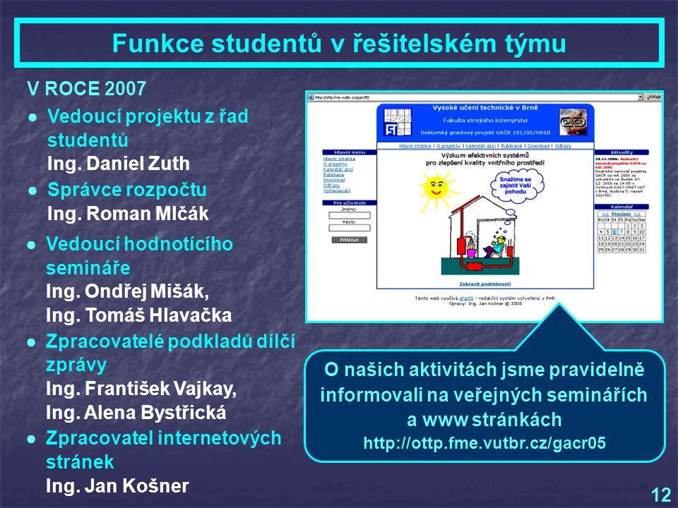 V ROCE 2007 Funkce studentů v řešitelském týmu 12 ●Vedoucí hodnotícího semináře Ing.