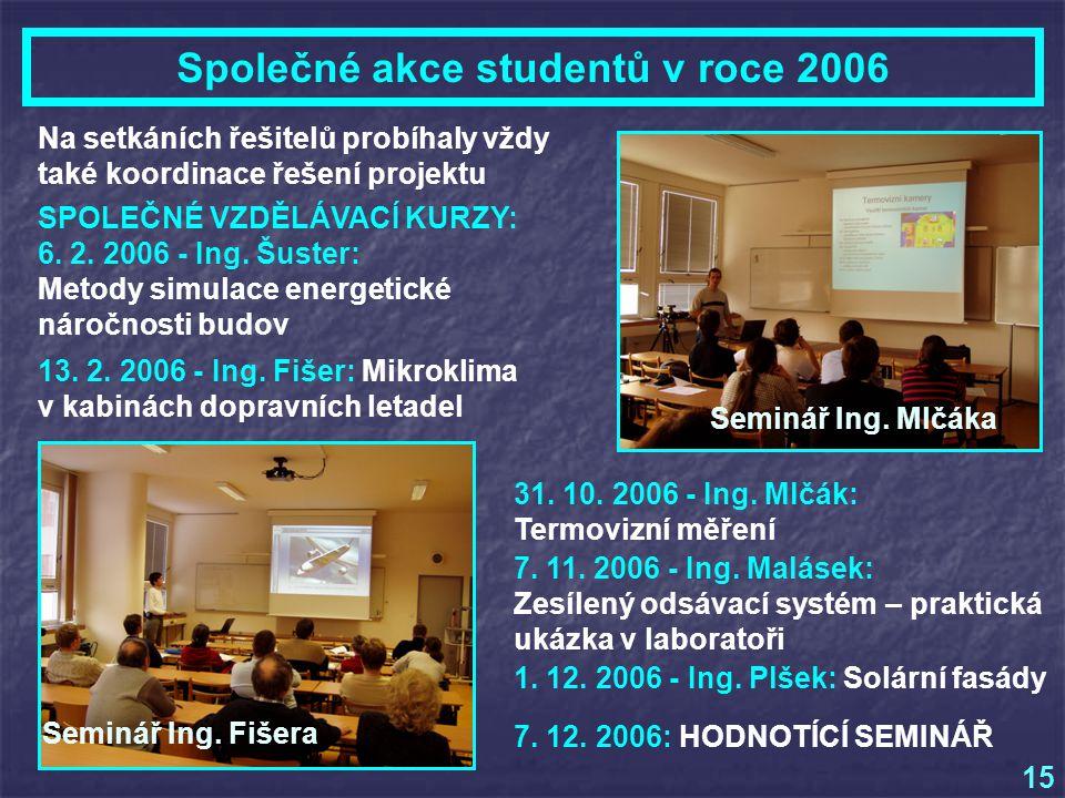 Na setkáních řešitelů probíhaly vždy také koordinace řešení projektu Společné akce studentů v roce 2006 15 SPOLEČNÉ VZDĚLÁVACÍ KURZY: 6.