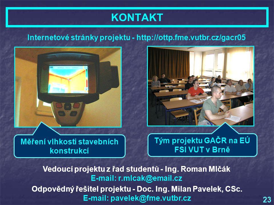 KONTAKT 23 Internetové stránky projektu - http://ottp.fme.vutbr.cz/gacr05 Vedoucí projektu z řad studentů - Ing.