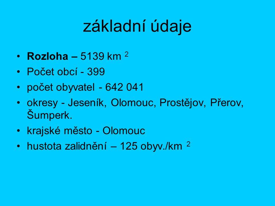 základní údaje Rozloha – 5139 km 2 Počet obcí - 399 počet obyvatel - 642 041 okresy - Jeseník, Olomouc, Prostějov, Přerov, Šumperk.