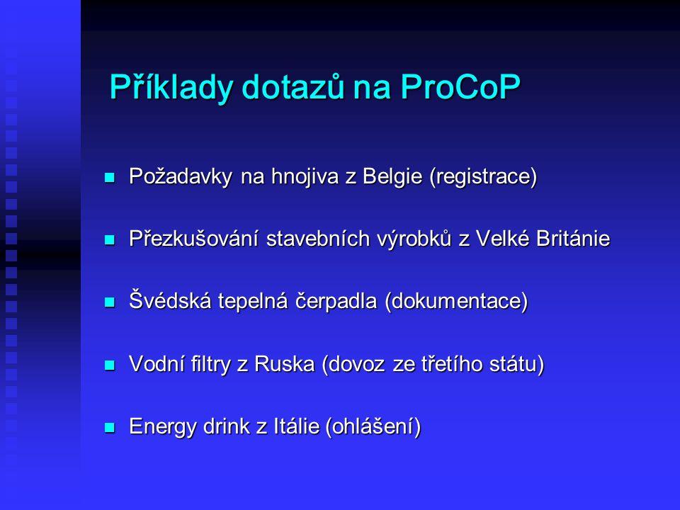 Příklady dotazů na ProCoP Požadavky na hnojiva z Belgie (registrace) Požadavky na hnojiva z Belgie (registrace) Přezkušování stavebních výrobků z Velké Británie Přezkušování stavebních výrobků z Velké Británie Švédská tepelná čerpadla (dokumentace) Švédská tepelná čerpadla (dokumentace) Vodní filtry z Ruska (dovoz ze třetího státu) Vodní filtry z Ruska (dovoz ze třetího státu) Energy drink z Itálie (ohlášení) Energy drink z Itálie (ohlášení)