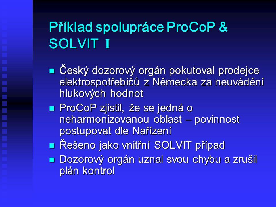 Příklad spolupráce ProCoP & SOLVIT I Český dozorový orgán pokutoval prodejce elektrospotřebičů z Německa za neuvádění hlukových hodnot Český dozorový orgán pokutoval prodejce elektrospotřebičů z Německa za neuvádění hlukových hodnot ProCoP zjistil, že se jedná o neharmonizovanou oblast – povinnost postupovat dle Nařízení ProCoP zjistil, že se jedná o neharmonizovanou oblast – povinnost postupovat dle Nařízení Řešeno jako vnitřní SOLVIT případ Řešeno jako vnitřní SOLVIT případ Dozorový orgán uznal svou chybu a zrušil plán kontrol Dozorový orgán uznal svou chybu a zrušil plán kontrol