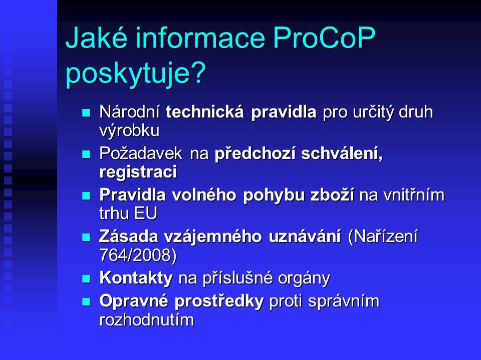 Jaké informace ProCoP poskytuje.