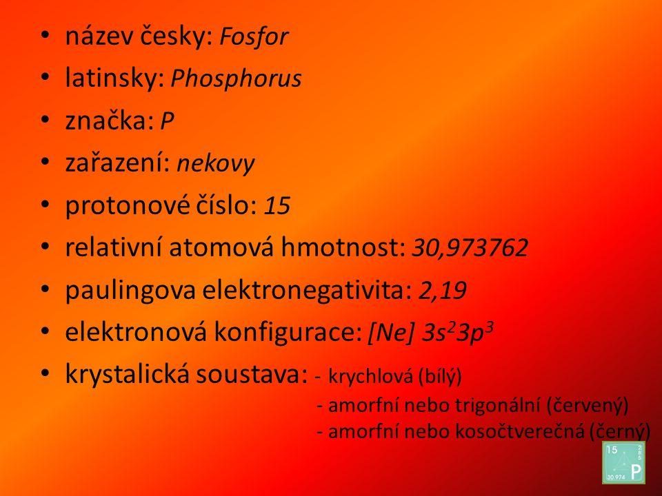 název česky: Fosfor latinsky: Phosphorus značka: P zařazení: nekovy protonové číslo: 15 relativní atomová hmotnost: 30,973762 paulingova elektronegati