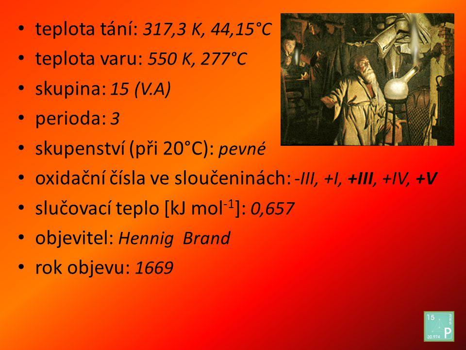 teplota tání: 317,3 K, 44,15°C teplota varu: 550 K, 277°C skupina: 15 (V.A) perioda: 3 skupenství (při 20°C): pevné oxidační čísla ve sloučeninách: -I