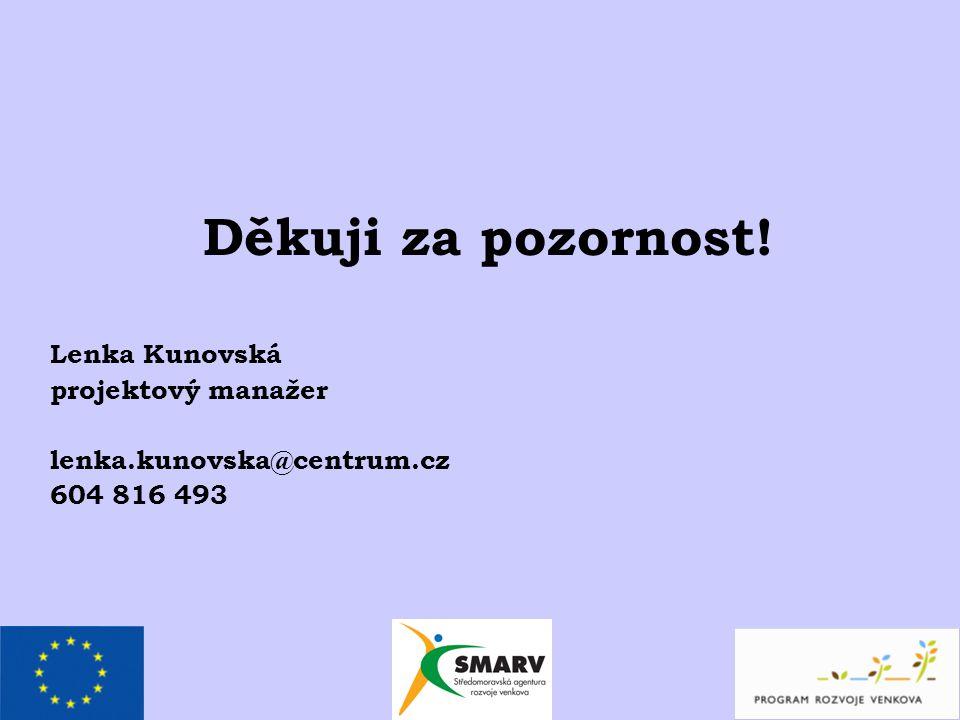 Děkuji za pozornost! Lenka Kunovská projektový manažer lenka.kunovska@centrum.cz 604 816 493