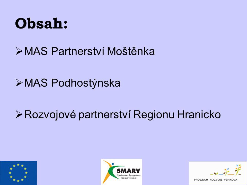 Obsah:  MAS Partnerství Moštěnka  MAS Podhostýnska  Rozvojové partnerství Regionu Hranicko